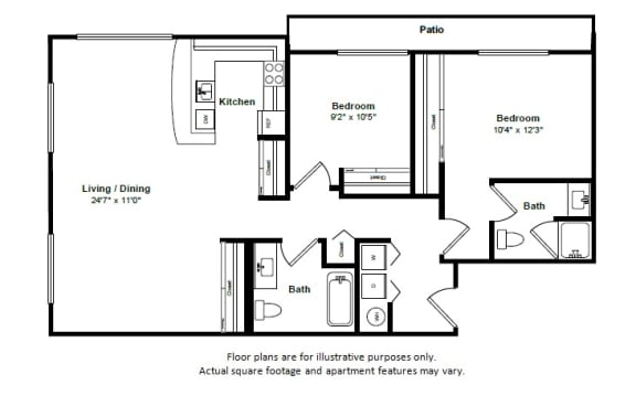 Floor Plan  St James floor plan at Tera Apartments, 528 Central Way, 98033