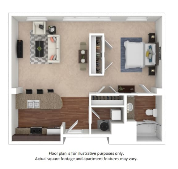Studio Loft 3D floor plan at The District, CO, 80222