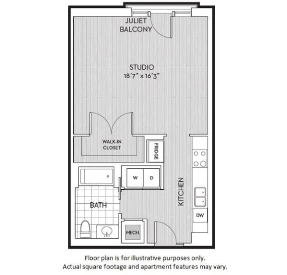 Floor Plan  Studio floor plan at The Woodley, 2700 Woodley Road, NW, Washington, DC, opens a dialog