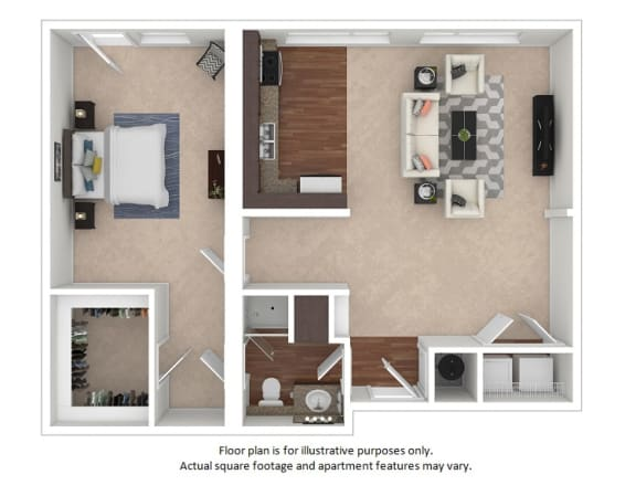 Floor Plan  1x1_17_761sf_3D_123495 at The District, CO, 80222