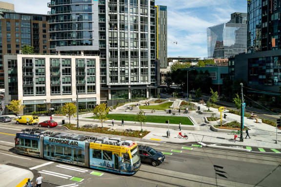 Urban Triangle Park in Front of Community at Stratus, Seattle, Washington