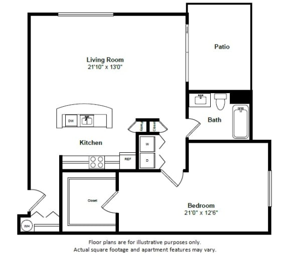 Floor Plan  Turks and Caicos floor plan at Tera Apartments, Kirkland, Washington