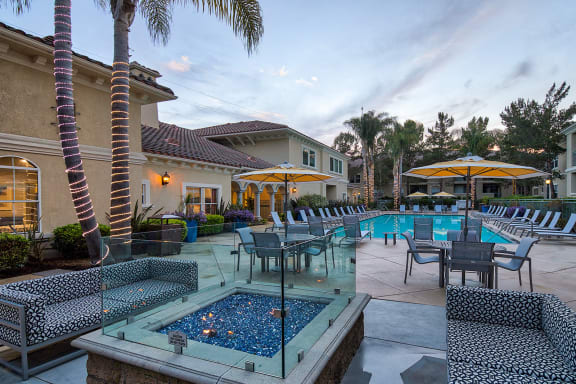 Relaxing Outdoor Lounge Area with Fire Pit at Windsor at Aviara, California, 92011