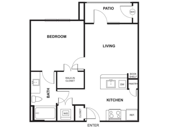 Floor Plan  1 Bed 1 Bath Floor Plan at Windsor Ridge, Texas, 78727