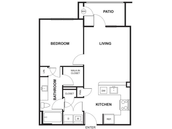 Floor Plan  1 Bedroom 1 Bathroom Floor Plan at Windsor Ridge, Austin, 78727