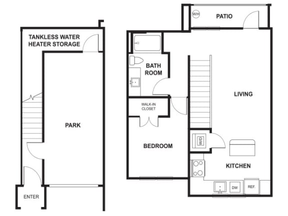 Floor Plan  One Bed One Bath Floor Plan at Windsor Ridge, Austin, Texas