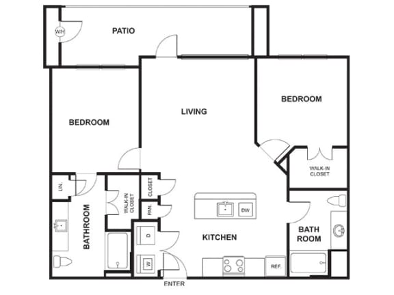 Floor Plan  2 Bedroom 2 Bathroom Floor Plan at Windsor Ridge, Austin, TX, 78727