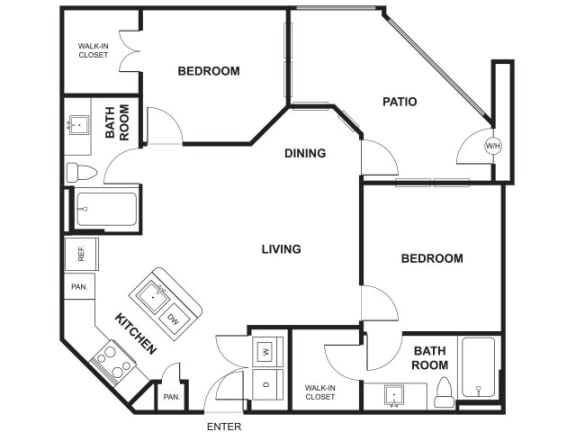 Floor Plan  2 Bed 2 Bath Floor Plan at Windsor Ridge, Austin, TX