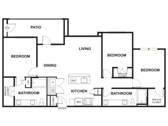 Floor Plan  3 Bed, 2 Bath Floor Plan at Windsor Ridge, Austin, TX