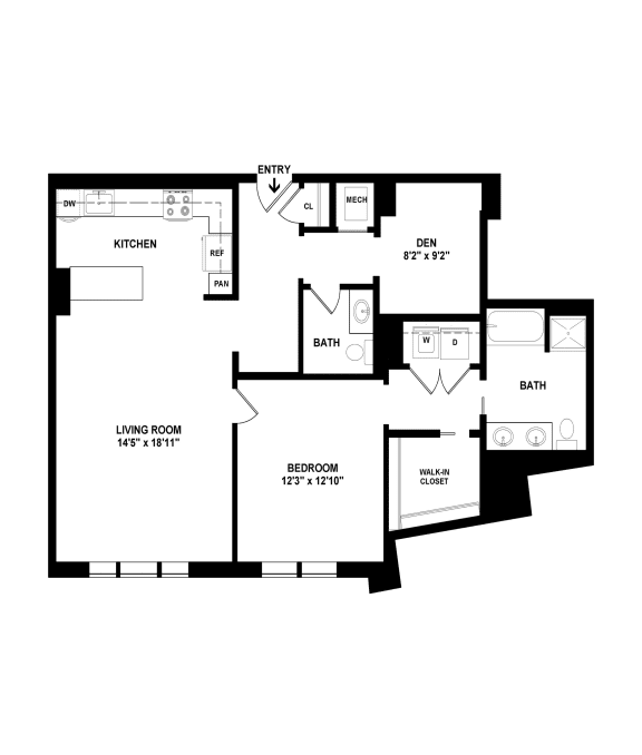 A16 floor plan at The Woodley, Washington, DC 20008