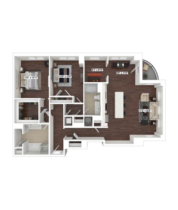 B12 floor plan at The Woodley, 2700 Woodley Road, NW, Washington, DC