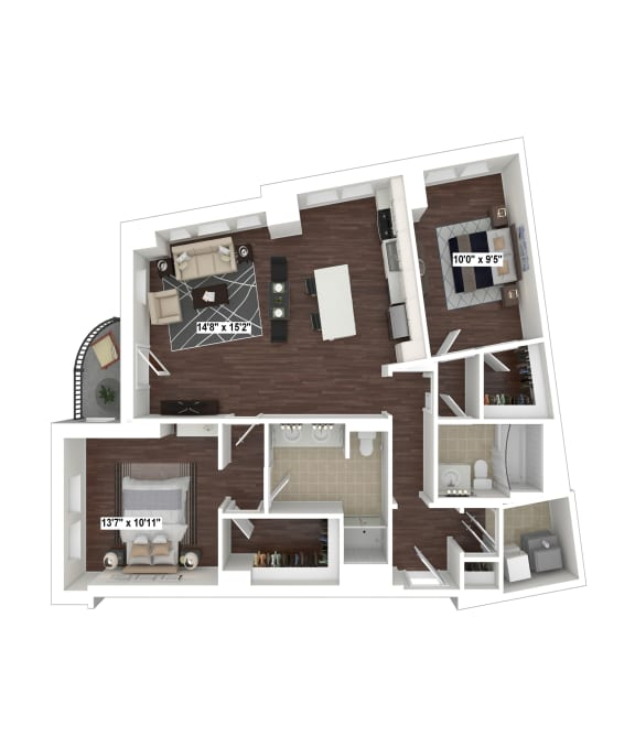 B2(5) floor plan at The Woodley, 2700 Woodley Road, NW, 20008