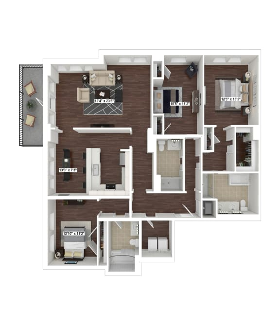 C12 floor plan at The Woodley, 2700 Woodley Road, NW, Washington, DC