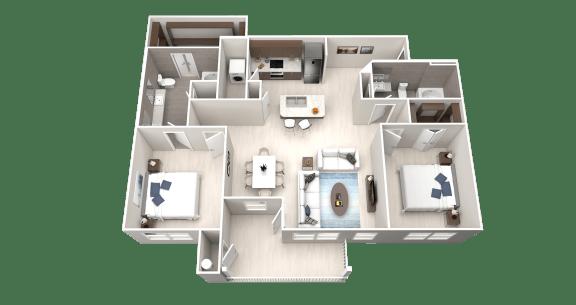 B10 Floor Plan at Ethos Apartments, Austin, 78744