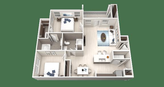 B1 Floor Plan at Ethos Apartments, Austin, TX, 78744