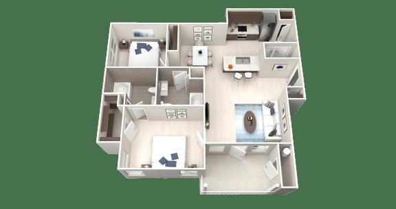 B3 Floor Plan at Ethos Apartments, Austin, 78744