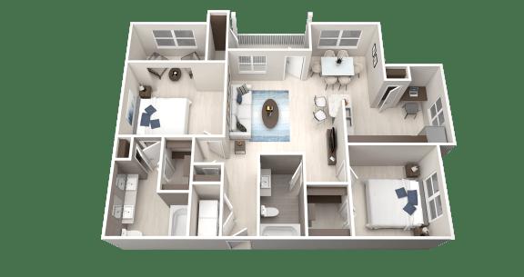 B5 Floor Plan at Ethos Apartments, Austin
