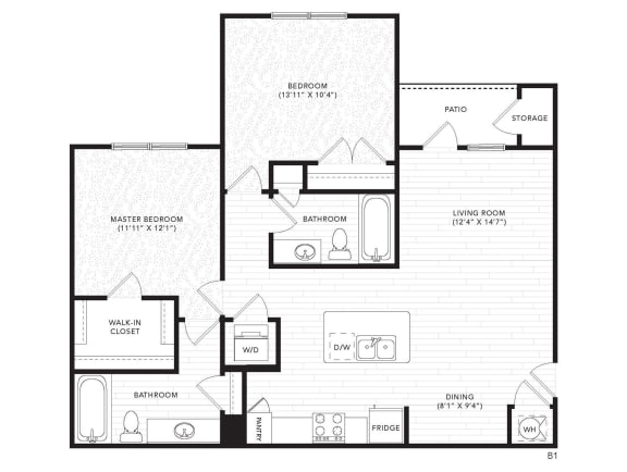 B1 Floor Plan at The Darby, Georgia
