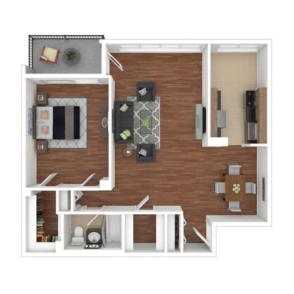 Colesville  Towers Apartments  1 bedroom floorplan 915 sq ft