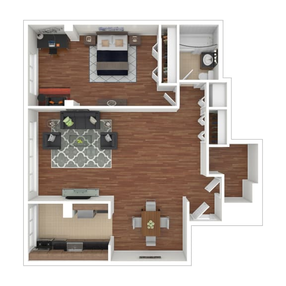Colesville  Towers Apartments  1 bedroom floorplan 800 sq ft-B