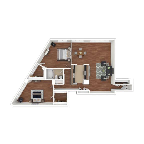 Colesville  Towers Apartments  2 bedroom floorplan 1162 sq ft