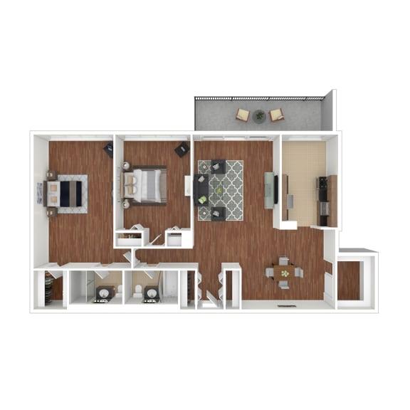 Colesville  Towers Apartments  2 bedroom floorplan 1358 sq ft