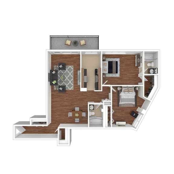Colesville  Towers Apartments  2 bedroom floorplan 1234 sq ft