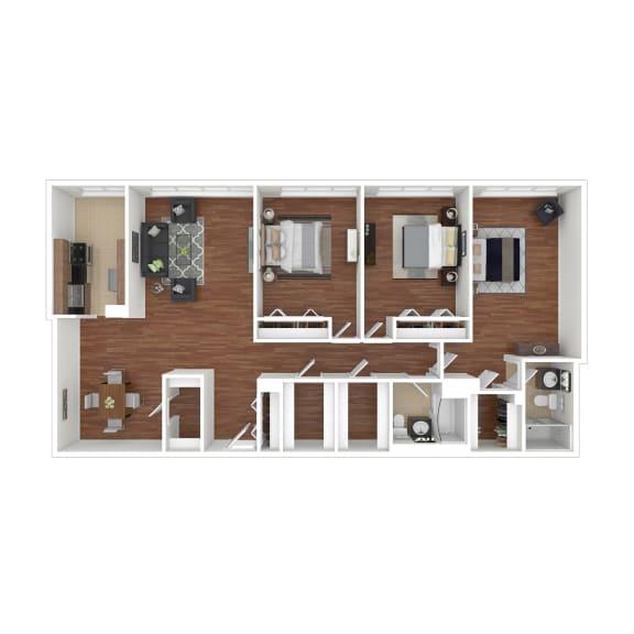 Colesville  Towers Apartments  3 bedroom floorplan 1340 sq ft