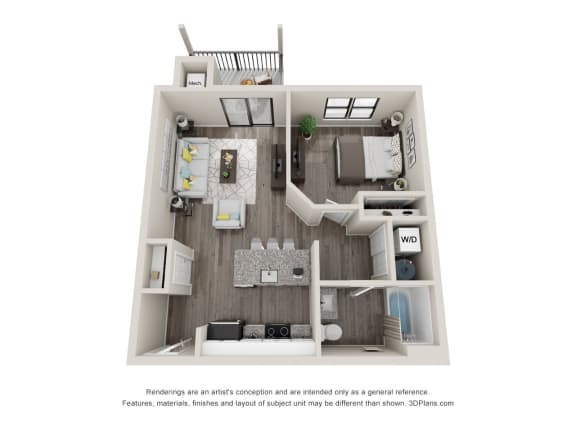 A1 Floor Plan at Latitude at South Portland, Portland, Maine