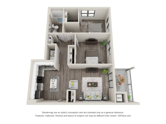 B2 Floor Plan at Latitude at South Portland, Maine, 04106