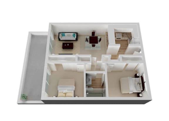 Two Bedroom A Floorplan at Oak Pointe, Fremont, 94538