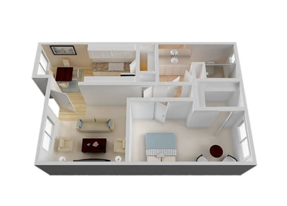 One_Bedroom Floor Plan at Vista Pointe, Santa Clara, CA