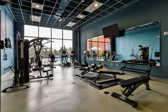 24-hour fitness center at The Residences at The Streets of St. Charles in St. Charles, MO