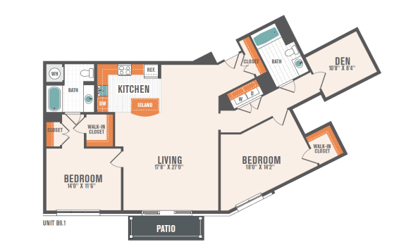 B9.2  2 Beds 2 Baths Floor Plan
