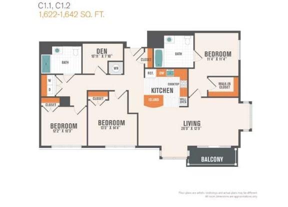 C1.1 Den  3 Beds 2 Baths Floor Plan