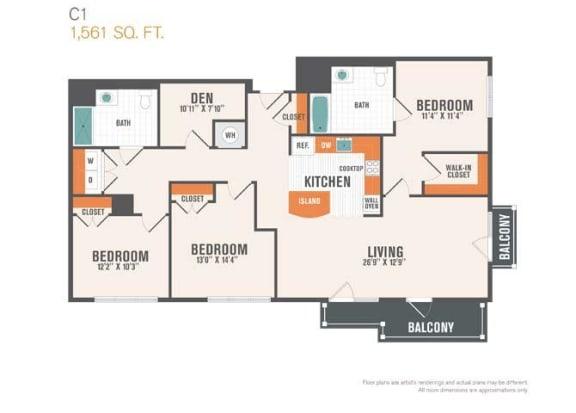 C1 Den  3 Beds 2 Baths Floor Plan
