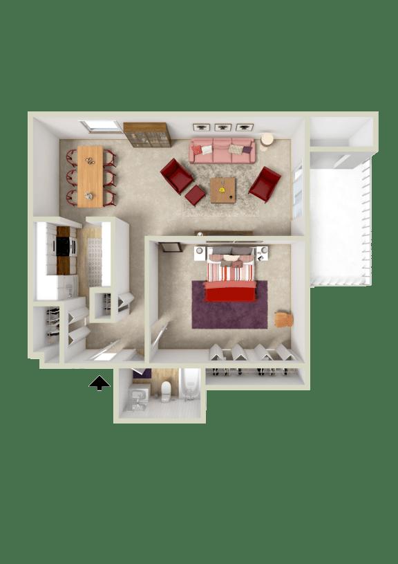 Floor Plan  1Br 1 Ba 759sqft