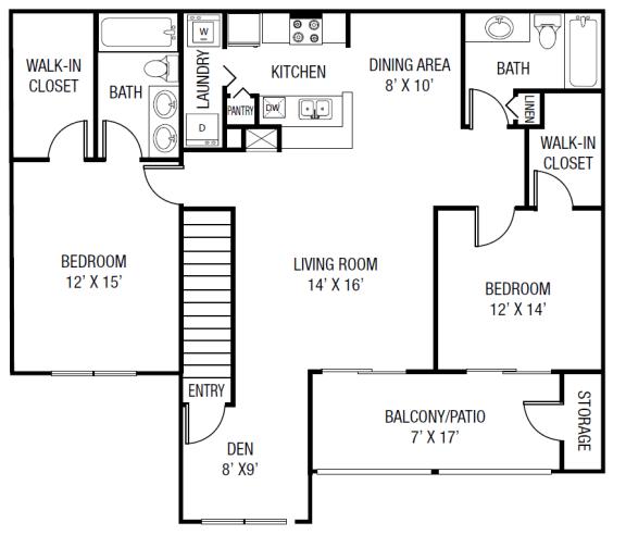 The Econofina Floor plan - 2 Bedrooms 2 Baths + Den 1,388 Sq. Ft.