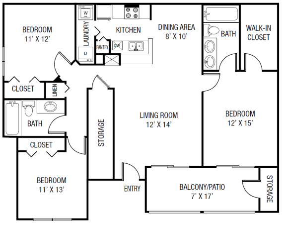 Floor Plan  The Escambia Floor plan - 3 Bedrooms 2 Baths 1,416 Sq. Ft.
