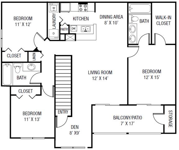 The Wacissa Floor plan - 3 Bedrooms 2 Baths + Den 1,543 Sq. Ft.