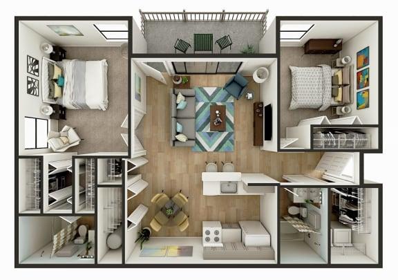 Floor Plan  2 Bedroom 1 Bath Floor Plan Image - The Del Mar