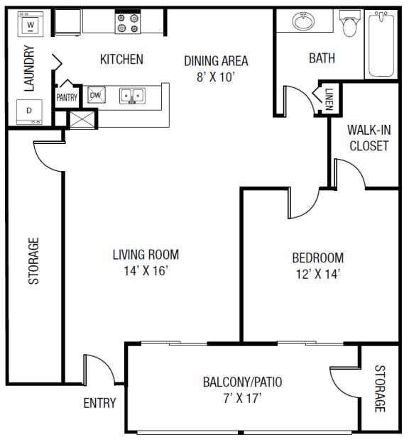 Floor Plan  The Braden Floor Plan - 1 bedroom 1 bath 952 Sq. Ft.