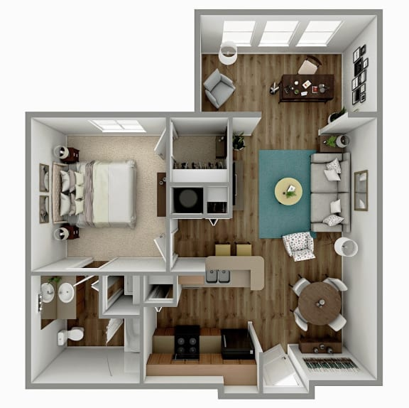 Floor Plan  A2 - 1 Bedroom 1 Bath with Sunroom Floorplan Image