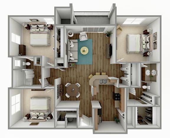 Floor Plan  C1 - 3 Bedroom 2 Bath Floorplan Image