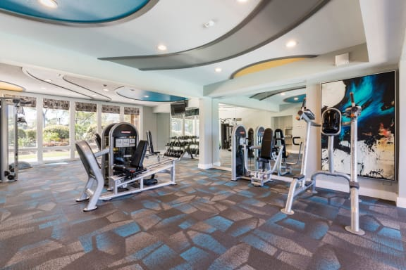 Fitness center showing the cardio machines.