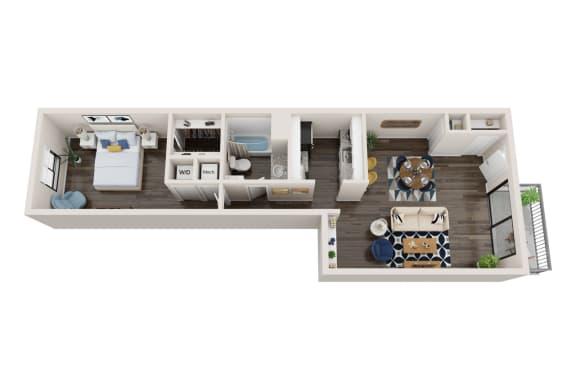 Floor Plan  1X1B Floor Plan, 1-Bed 1-Bath Floor Plan