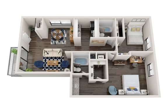 Floor Plan  2X2A Floor Plan, 2-Bed 2-Bath Floor Plan