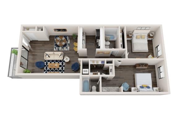 Floor Plan  2X2B Floor Plan, 2-Bed 2-Bath Floor Plan