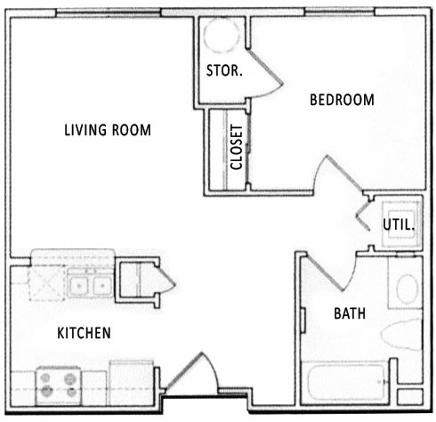 Floor Plan  1 Bedroom 1 Bathroom Floorplan