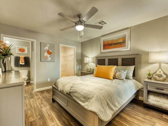 Model bedroom with celling fan